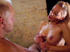 Blonde office lady Loulou tied up with chains and fucked hard