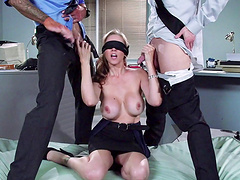 Blindfolded suspect Julia Ann fucked by two police officers