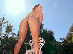 Sexy blonde wife AJ Applegate rides a dick while having a butt plug