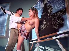 Fake boobs pornstar Karmen Karma in miniskirt fucked by her man