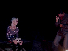 Tattooed couple loves having sex by the camping fire - Kleio Valentien
