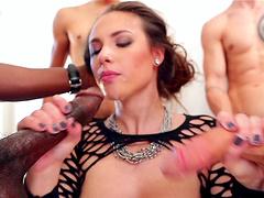Nasty model Casey Calvert drops on her knees to blow lot of dicks