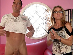 Blonde babe Stevie Shae knows how to suck a big cock properly