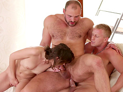 Kinky bisexual threesome between handsome dude and sexy Lara