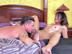 Asian wife Kaylani Lei plays with her pussy and gets drilled