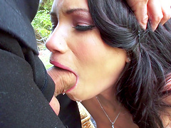 Outdoor fucking during a picnic with shaved pussy Raven Bay