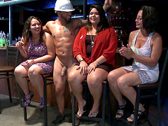 Sexy cowgirl gets her face fucked in  a savory cfnm groupsex party