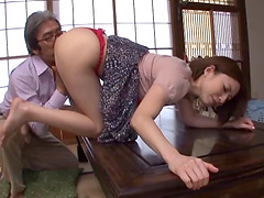 Small tit Asian mature gets banged for a job