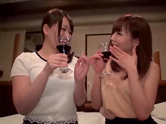 Drunk Asian lesbian putting their long tongues to use