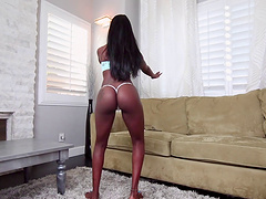 Curvy ebony cowgirl likes to get hammered on the couch