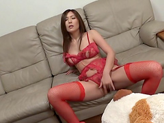 Icy hot Asian solo model in sexy stockings masturbating with giant toy
