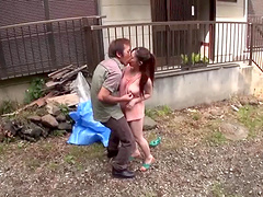 Kinky Asian couple enjoys an outdoors pussy drilling action