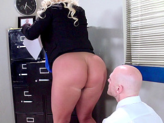 Boss lady Julie Cash fucked in the office by her male assistant