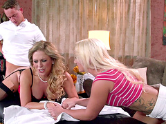 Hot FFM threesome with Cali Carter and Cherie Deville in the office