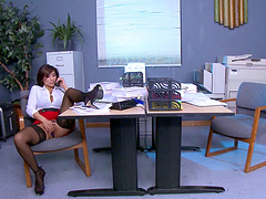 Office lady Reena Sky in stockings and miniskirt fucked by her boss