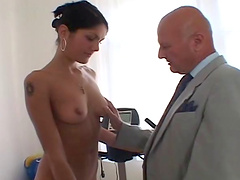 Grandpa stimulated by the site of a hot babe gets rewarded with a steamy blowjob