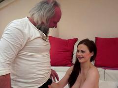 Horny grandpa stunned by her date's beauty gets a sensual handjob till he cums