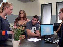 Seductive babes enjoy a hardcore office sex shoot