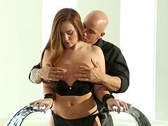 Torture fetish action with lingerie clad brunette stunner