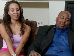 Vixenish ebony sex bomb moan with pleasure while riding a white boner hardcore