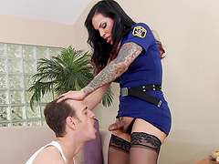 Busty shemale in sexy cop uniform plants her cock deep in her boyfriend'a anal hardcore