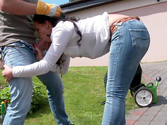 Big butts dame stomachs a huge throbbed outdoors till she orgasms