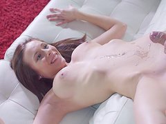 Foxy redhead enjoys a little foreplay before a hardcore pounding