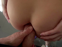 Adrenalized dame enjoys siphoning cum out of a giant pecker in POV