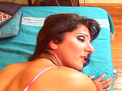 Hot shemale has her cock idle as she gets a rough anal throbbing