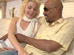Black man with a large dick fucks pale blonde chick Alice Frost