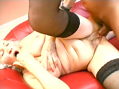 Blonde mature adores to blow a hard penis before and after rough sex