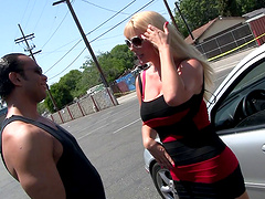 Busty blonde Samantha Silver ridding a long stranger's dick badly