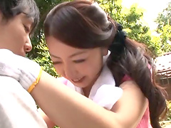 Milf Ayano murasaki is on her knees giving the best blowjob ever
