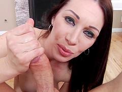 Big tits brunette pornstar gets her face fucked in pov clip