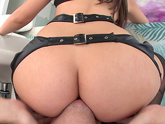 Alluring chic in a lingerie places her ass strategic for a rough anal throbbing