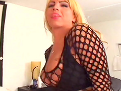 Tom sucks a shemales cock to erection before pumping his down her tight asshole