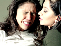 Sassy brunette gals pussy licking one another in prison then finger each other