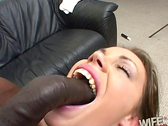 Radiant cowgirl in a close up shoot face fucking a big black cock