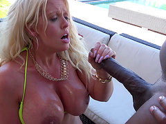 Breathtaking milf with long hair screaming while being humped outdoor