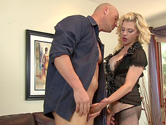 Delectable shemale in fishnet stockings is ready for a hardcore anal pounding