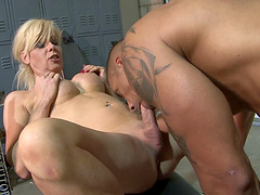 Tattooed shemale has her butt hole filled with a big black cock hardcore