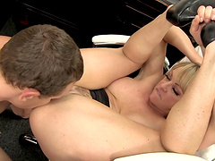 Lovable blonde milf takes a big cock up her juicy cunt after giving a hot blowjob