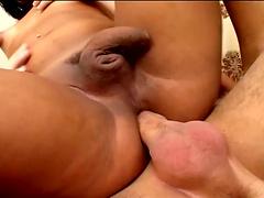 Brown skinned shemale babe loves feeling bare dicks inside her asshole