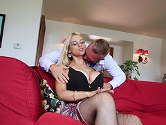 Superb busty blonde finally gets fucked like a cum slut