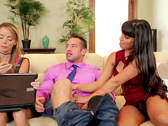 Attractive couple have a hot threesome with a blonde slut