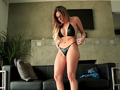 Hotie in a sexy bikini strokes the massive throbber pending hardcore fucking in a close up shoot