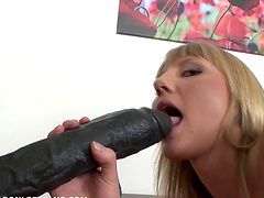 Horny blonde fucking her lesbian brunette slut with a big strapon