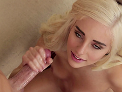 Good looking blonde with natural tits had a good time with jerked cock.