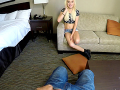Cock hungry Petite blonde enjoys sucking a big dick in-house.