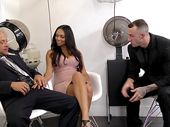 Astonishing Bethany Benz with great big tits was screwed in a gangfuck.